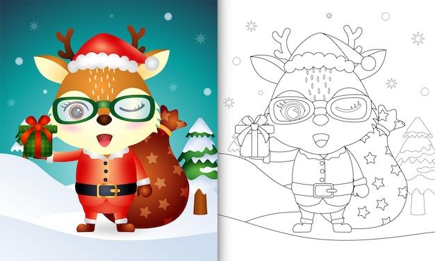 Kleurboek met een schattig hert met kerstman kostuum