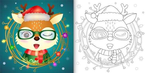 Kleurboek met een schattig hert met kerstversiering van takjes