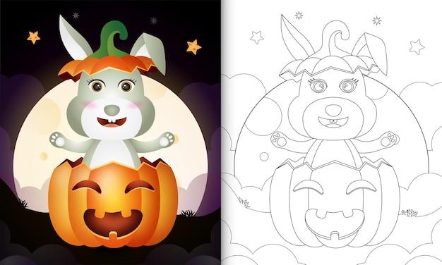 Kleurboek met een schattig konijn in de halloween-pompoen