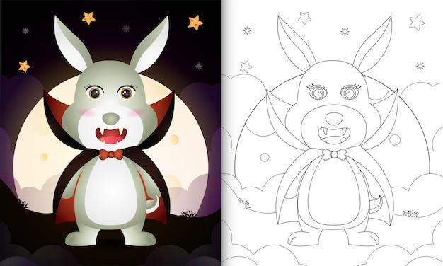 Kleurboek met een schattig konijn met kostuum dracula halloween