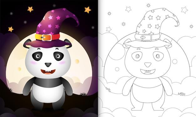Kleurboek met een schattige cartoon halloween heks panda front the moon