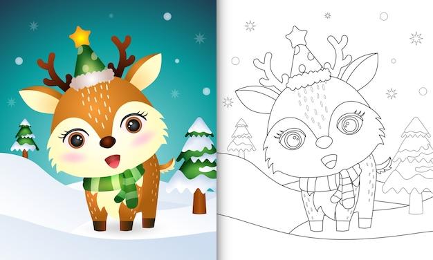 Kleurboek met een schattige kerstkarakterscollectie van herten met een hoed en sjaal