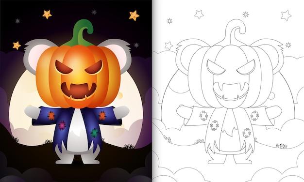 Kleurboek met een schattige koala met kostuumvogelverschrikker en pompoen-halloween