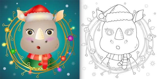 Kleurboek met een schattige neushoorn met takjes kerstversiering