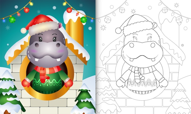 Kleurboek met een schattige nijlpaard kerstkarakters met kerstmuts en sjaal in huis