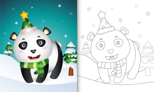 Kleurboek met een schattige panda-kerstkarakterscollectie met een hoed en sjaal