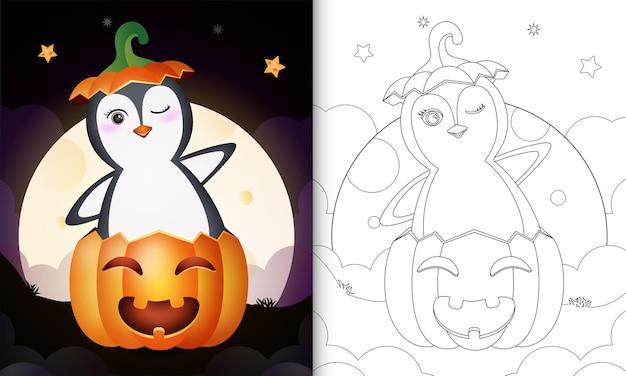 Kleurboek met een schattige pinguïn in de halloween-pompoen