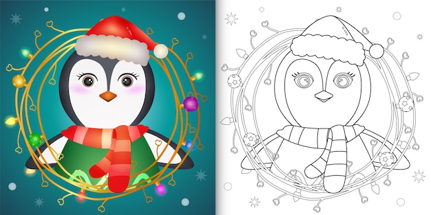 Kleurboek met een schattige pinguïn met kerst twijgen decoratie