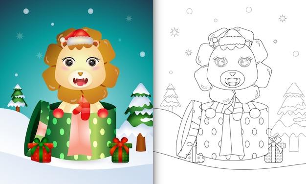 Kleurboek met kerstkarakters van een leeuw