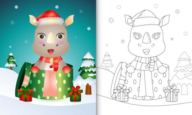 Kleurboek met kerstkarakters van neushoorns