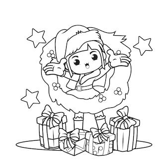Kleurboek met schattig meisje kerst caracther