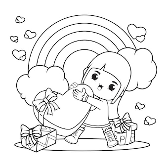 Kleurboek met schattig meisje met een hart