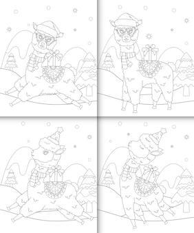 Kleurboek met schattige alpaca kerstkarakters