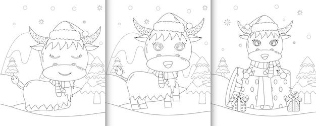 Kleurboek met schattige buffels kerstkarakters
