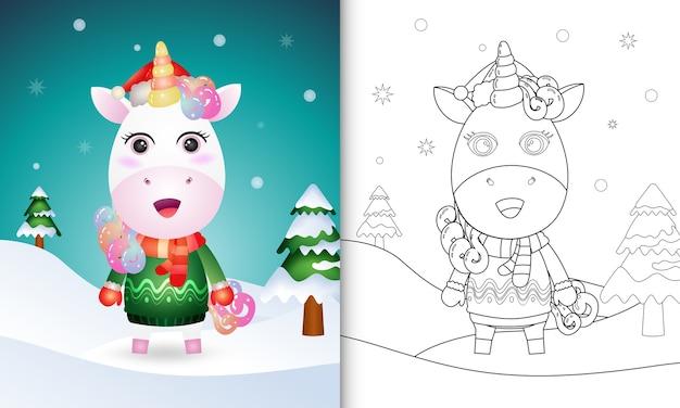 Kleurboek met schattige eenhoorn-kerstkarakters met een kerstmuts, jas en sjaal Premium Vector