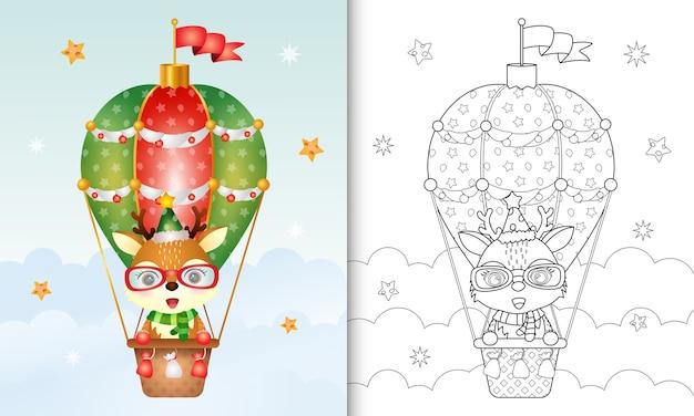 Kleurboek met schattige herten kerstkarakters op hete luchtballon met hoed en sjaal