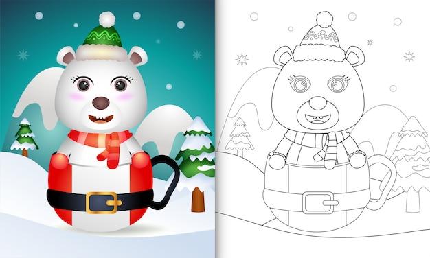 Kleurboek met schattige kerstkarakters van ijsbeer