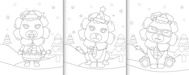 Kleurboek met schattige leeuw kerst karakters