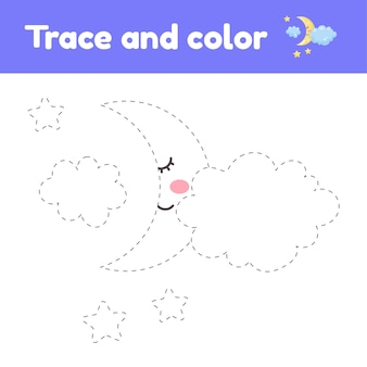 Kleurboek met schattige maan en wolken. werkblad traceren.