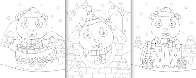 Kleurboek met schattige panda kerstkarakters