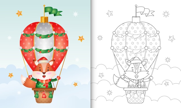 Kleurboek met schattige vos-kerstkarakters op hete luchtballon met een kerstmuts, jas en sjaal