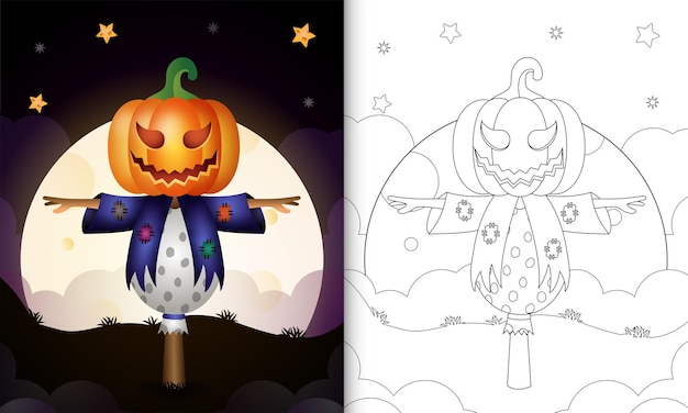 Kleurboek met vogelverschrikker en pompoen halloween