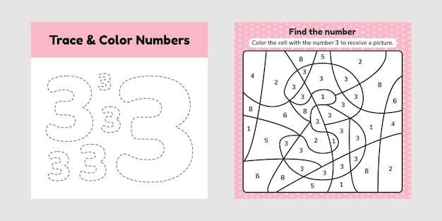 Kleurboek nummer. trace lijn. schrijf en kleur een drie.