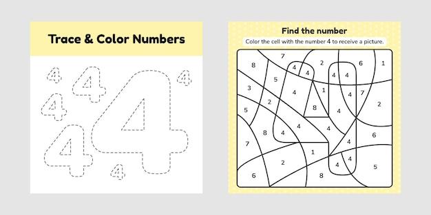 Kleurboek nummer. trace lijn. schrijf en kleur een vier