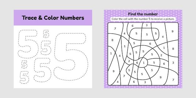Kleurboek nummer. trace lijn. schrijf en kleur een vijf.