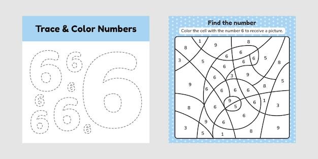 Kleurboek nummer. trace lijn. schrijf en kleur een zes.