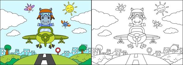 Kleurboek of pagina cartoon nijlpaard besturen van een vliegtuig