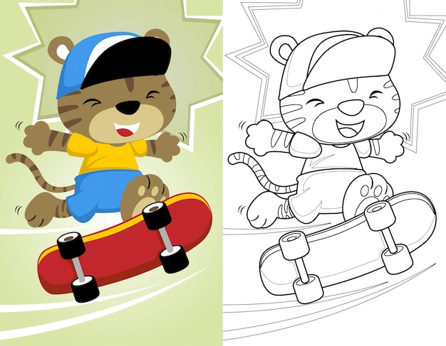Kleurboek of pagina met kleine kat skateboard spelen