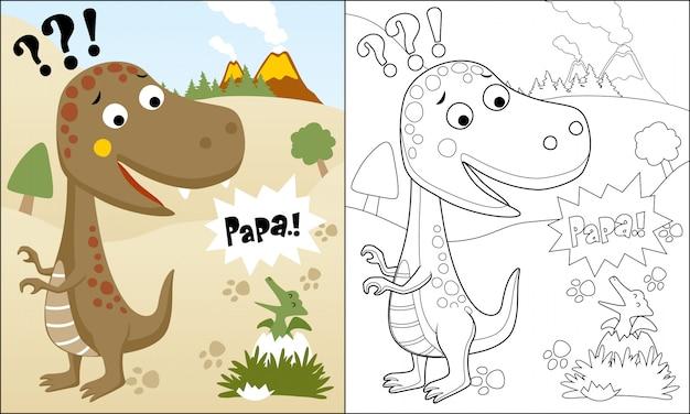 Kleurboek of pagina van grappige dinosaurussen cartoon