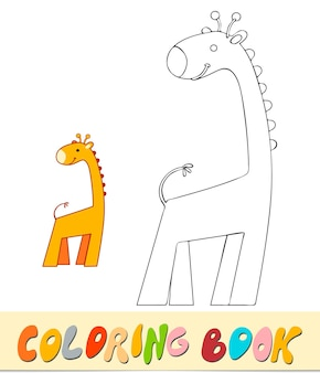 Kleurboek of pagina voor kinderen. giraf zwart-wit vectorillustratie
