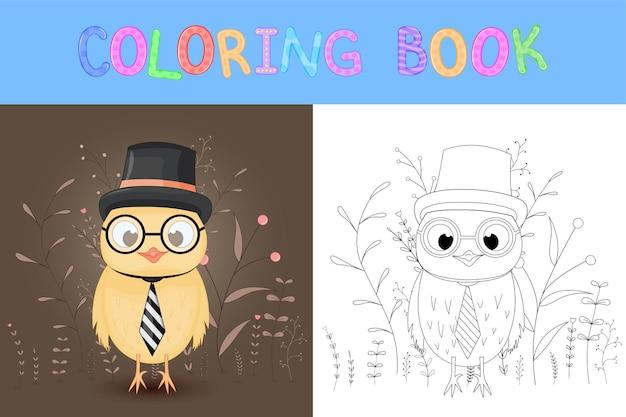 Kleurboek of pagina voor kinderen van school en voorschoolse leeftijd. ontwikkeling van de kleuring van kinderen. cartoon vectorillustratie met schattige uil.