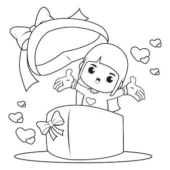 Kleurboek schattig meisje in een hartvormige doos