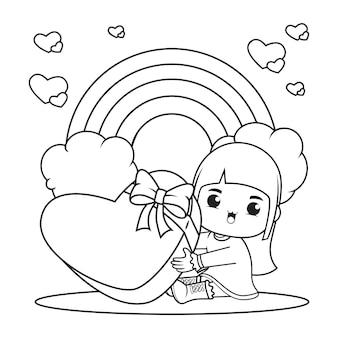 Kleurboek schattig meisje met een hart