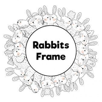 Kleurboek stijl frame met grappige konijnen