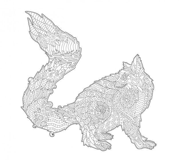 Kleurboek tekening met geïsoleerde gestileerde lemur
