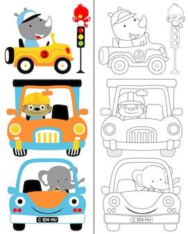 Kleurboek vector van voertuig cartoon set met grappige bestuurder