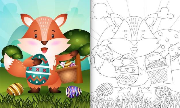Kleurboek voor kinderen als thema gelukkige paasdag met karakterillustratie