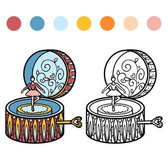 Kleurboek voor kinderen, ballerina muziekdoos