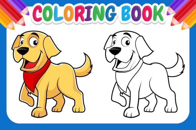 Kleurboek voor kinderen. cartoon hond kleurplaat