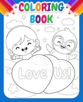 Kleurboek voor kinderen cartoon schattig meisje en pinguïn vliegen met liefde ballon