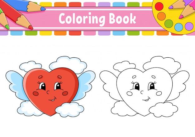 Kleurboek voor kinderen. een liefdevol hart met vleugels vliegt in de wolken.