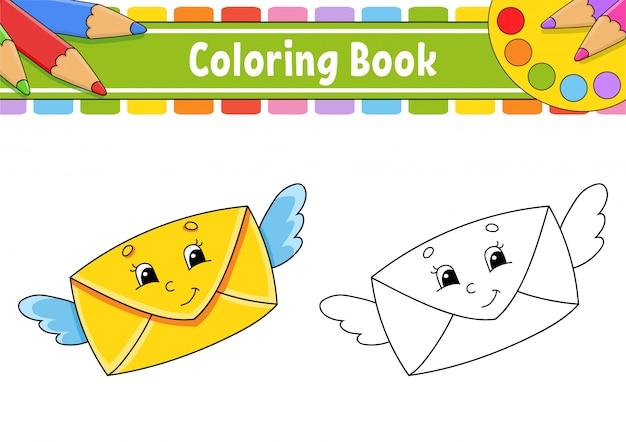 Kleurboek voor kinderen. een mail envelop met vleugels vliegt en glimlacht.