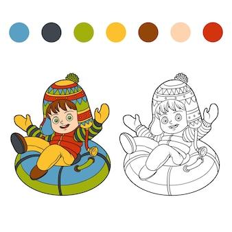Kleurboek voor kinderen, gelukkig meisje rijden op de slangen, opblaasbare slee