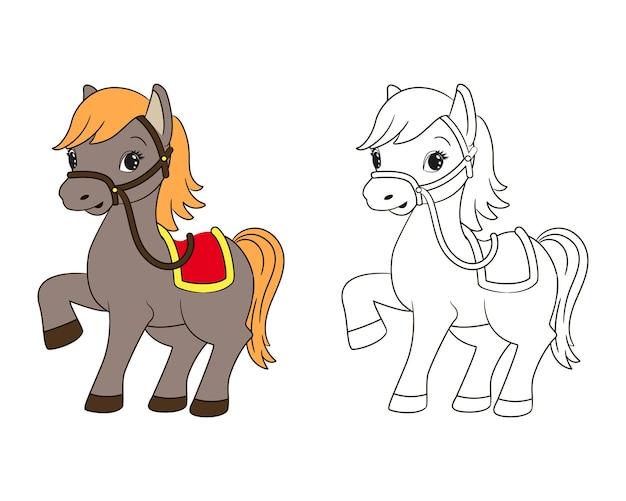 Kleurboek voor kinderen, grappig paardje met rood zadel en gele manen, vectorillustratie, tekenfilm, zeer fijne tekeningen