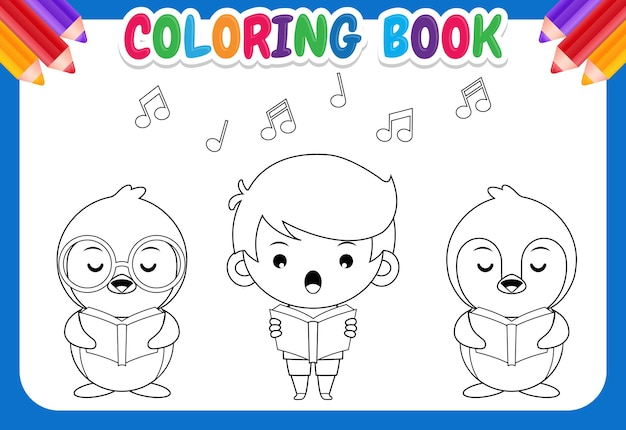 Kleurboek voor kinderen. groep schattige pinguïns en jongen zingen in een koor illustratie