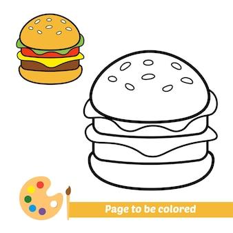 Kleurboek voor kinderen hamburger vector